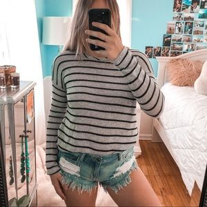 Forever 21 Black & Grey Striped Sweater